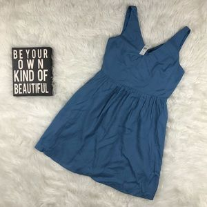Ann Taylor Loft Blue V-Neck Fit Flare Tea Dress